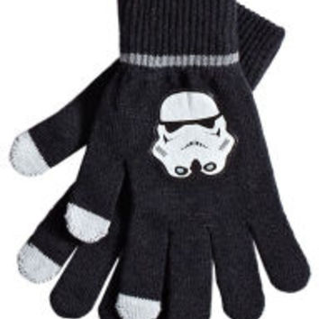 Star Wars Stormtrooper Decal Black Touch Screen Winter Gloves One Size