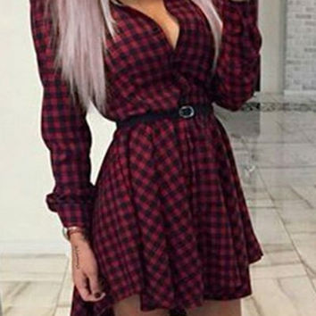 Wine Red Shirt Collar Long Sleeve Plaid Print Handkerchief Dress