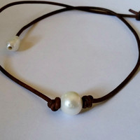 Single Freshwater Pearl  and Leather Choker style Necklace