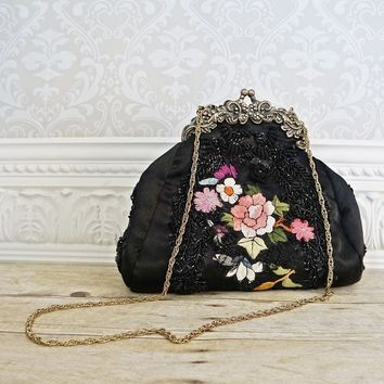 Modern Midnight Black Embroidered + Kiss-Lock Handbag