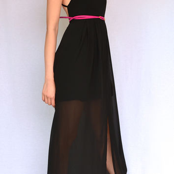 THE BEST OF BOTH WORLD BACKLESS BLACK MAXI DRESS