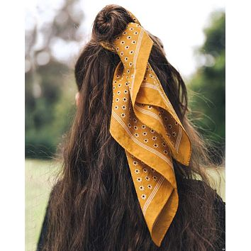 Moon Flower Bandanna in Mustard