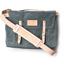 WAXED CANVAS MESSENGER BAG (CHARCOAL)
