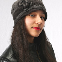 Made To Order Flower Hat in Grey and Black