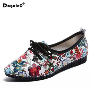 Spring Autumn Lace Up Casual Shoes Printing Woman Flowers Oxford Flats Shoes For Women Pointed Toe Ladies Zapatos Mujer Loafers