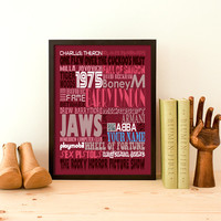 Typography Print Anniversary Gift Birthday Gift Birthday Print Personalized Birthday Typography Gift 1975 Typographic Print Wall Art 70s A3