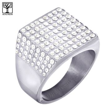 Jewelry Kay style Men's Fashion Lab Diamond Stainless Steel Silver Plated Band Pinky Ring SSR 305S