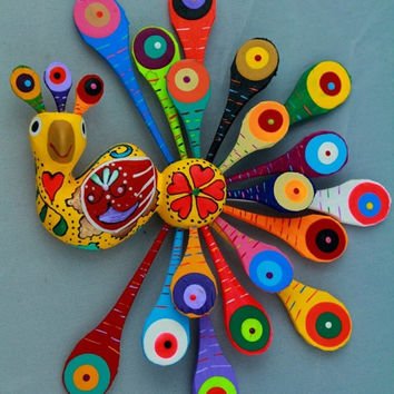 A372 Fantastic Peacock Alebrije Oaxacan Wood Carving Handcrafted Mexican Folk Art