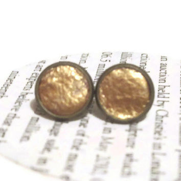 Gold Leather Stud Earrings, Leather Earrings, Earstuds, Ear Stud Earrings