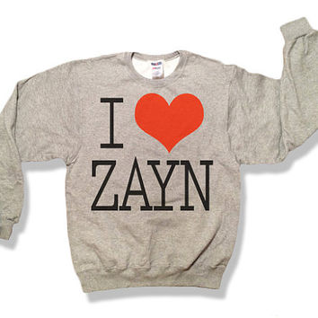 One Direction I Love Zayn Malik Oxford Gray Sweatshirt x Crewneck x Jumper x Sweater - 018 - All Sizes Available