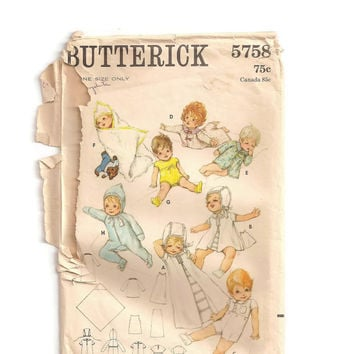 Vintage Sewing Pattern, Infant Layette, Butterick 5758, Baby Shower Gifts, Dress Pattern, Petticoat, Bonnet, Baby Kimono, Infant Snowsuit