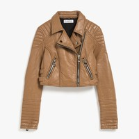 Cropped Pleather Moto Jacket