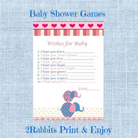 Pink Elephant Themed Girl Baby Shower - Wishes for Baby - Printable Baby Shower Game- Instant Digital Printable- Pink Borders- Elephants
