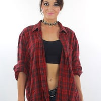 Vintage Plaid Flannel shirt 90s Grunge Red Black Cotton 1990s Button up