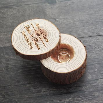 Custom Rustic Ring Bearer, Engraved Wood Ring Box,Wedding Ring Box ,Personalized Ring Box ,Save the Date