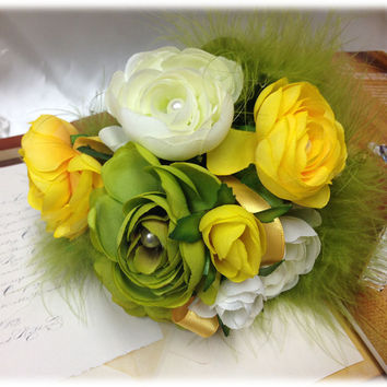 wedding bouquet, Bridal Bouquet, Green yellow Silk Flower fabric bouquet, wedding accessory, Bridesmaid bouquet