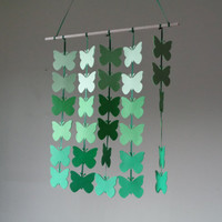 Green ombre Butterfly hanging paper mobile! Baby Nursery mobile, Crib mobile. Boy/Girl/Teen/Tween mobile. Gift, Birthday