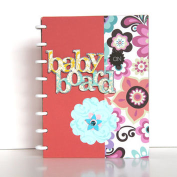 Handmade Gift Pregnancy Journal Scrapbook Album Ready to Ship Coral