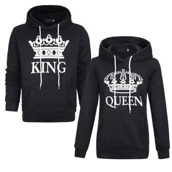 Cool King Queen Women Sweatshirt Fashion Casual New Style Printed Hooded Long Sleeve Couple Sweater Letter Sweatshirt For WomenAT_93_12
