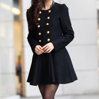 Black Woman Jacket/ Winter Coat/Woolen coat/ Tunic/ Long Jacket/Short Jacket/ Long Sleeves/Woman Tunic/ Double-breasted Coat