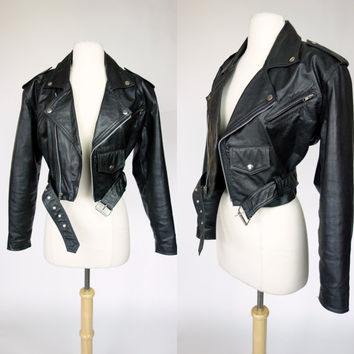 80s black leather cropped motorcycle jacket, Wilsons rocker moto biker jacket, Small, Medium