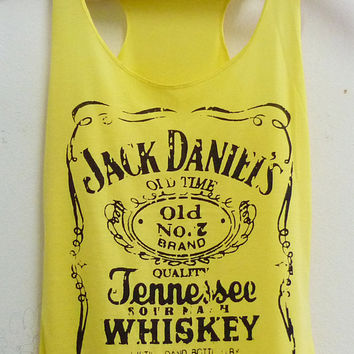 Yellow Jack Daniels whiskey sign Tank top size S/M polyester cotton blend singlet top for women