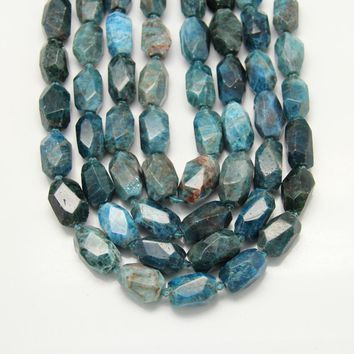 Natural Blue Apatite Cut Nugget Beads Pendants,Middle Drilled Faceted Raw Apatite Slab Loose Beads Crafts Necklace Supplies