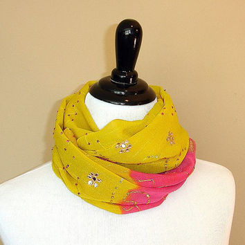 Infinity Scarf: Upcycled Indian Sari Scarf, Twisted Saree Scarf, Loop Scarf, Chunky Circle Scarf in Yellow and Pink, Snood