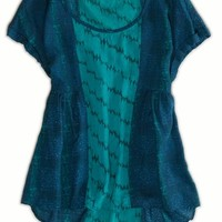 's Printed Floaty Top (Teal)