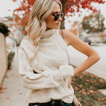 Jack Frost Cable Knit One Sleeve Sweater - Cream