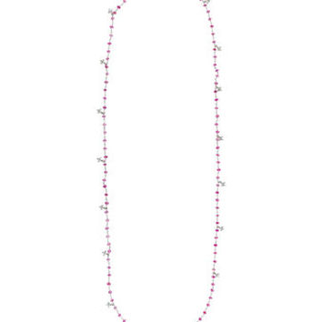 Cathy Waterman Pink Sapphire and Diamond Clover Necklace