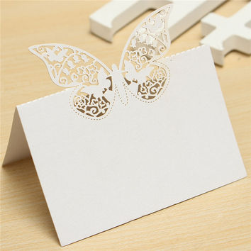 20pcs Butterfly Laser Cut Place Hollow Out Name Table Card
