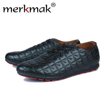 Mermak Men Summer Shoes Men Fresh Ventilate Men's Shoes Casual Lace up Loafers Slip on PU Leather Men's Flats Free Shipping