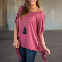 All Of Me Fringe Top, Mauve