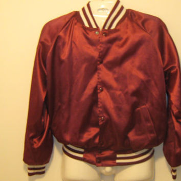 Vintage 80s Todd Sportswear Burgundy Button Up Nylon Sports Jacket - Large (44-46)