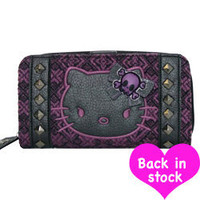 Hello Kitty Angry Kitty Purple Tweed Wallet