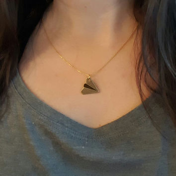 Paper Plane Necklace, Friendship Necklace , long distance relationship , long distance friendship ,Best Friend Necklace , Origami Necklace