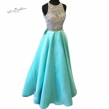 Turquoise Long Prom Party Dresses 2018 Crystals Satin Special Occasion Evening Gowns Vestidos de Baile Floor Length Abendkleider