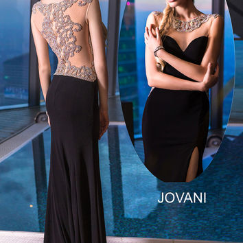 Jovani 99085 Jeweled Sheer Back Jersey Prom Pageant Dress Evening Gown
