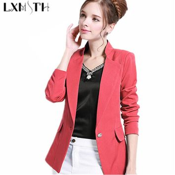 6XL Blazer Feminino 6XL 5XL 2016 Women Blazers And Jackets Fashion One Button Black Blazer Women Plus Size Slim Fit Blazer Mujer