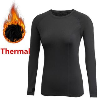 Thermal T-shirts For Women Gyms Fitness Tees Long Sleeve Fleece Autumn Winter Spring Compression Tops Warm Slim Fit Clothing