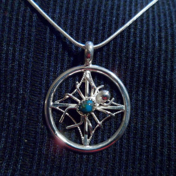 Authentic Navajo Native American Southwestern sterling silver filigree spider turquoise pendant/necklace.