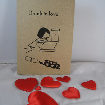 Valentine's Day Card Stick Figure Silly Funny Drunk in Love Anti-Valentine's Day Sarcastic