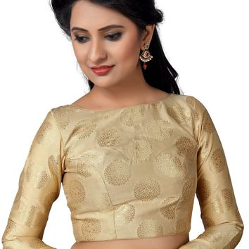 Gold Mandala Print Long Sleeve Saree Blouse SNT-X-457-SL