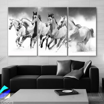 "LARGE 30""x 60"" 3 Panels Art Canvas Print beautiful Horses White animals Wall Home Office Decor interior (Included framed 1.5"" depth)"