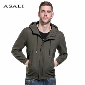 Men's Hooded Zipper Jackets New Casual Solid Como Coats Men Military Style Overcoat Male Fashion Bomber