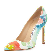 BB Floral Watercolor Pump, Pink Multi - Manolo Blahnik - Pink mult