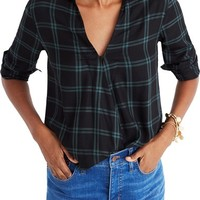 Madewell Plaid Faux Wrap Shirt | Nordstrom