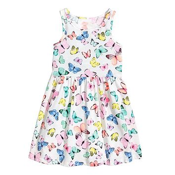 Girls Cotton Dress butterfly 2017 Brand Summer Sleeveless Flower Princess Dress for Kids Girls Dresses