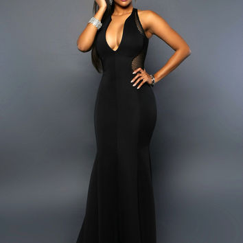 Black Plunging Sleeveless Evening Gown
